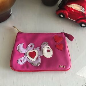 Love Juicy Couture pink clutch make up bag